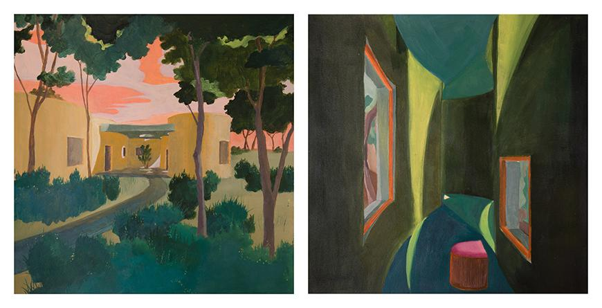 Colorful painting of the exterior and interior of a house.