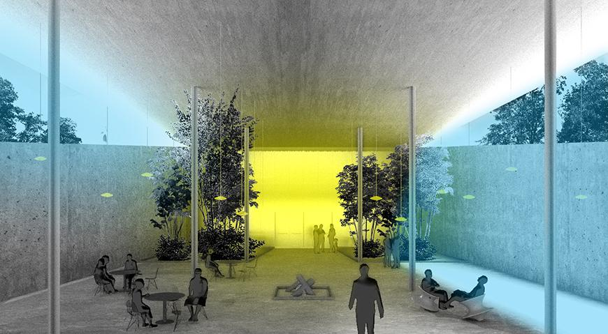Digital rendering of an architectural structures interior.