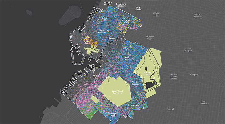 color-coded map of a section of Brooklyn, NY