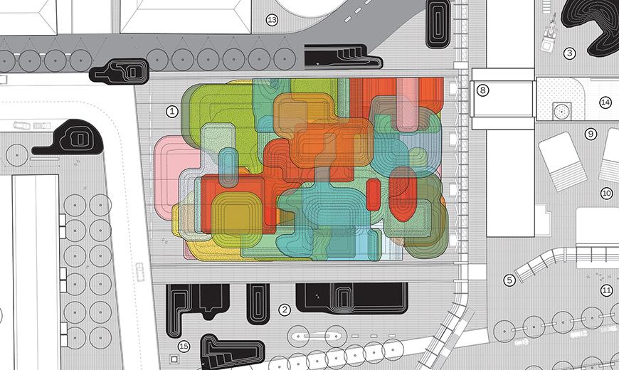 Rounded colorful shapes and grids.