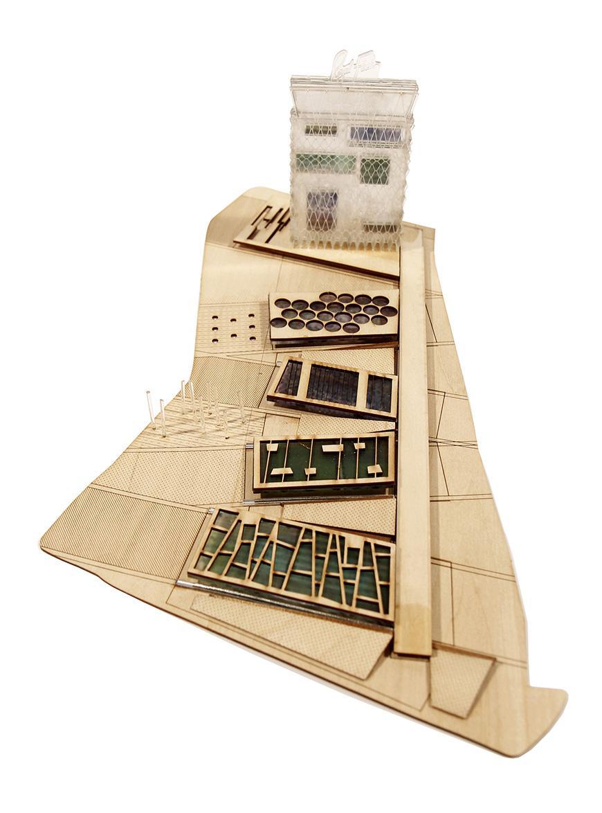 wooden model of landscape and building