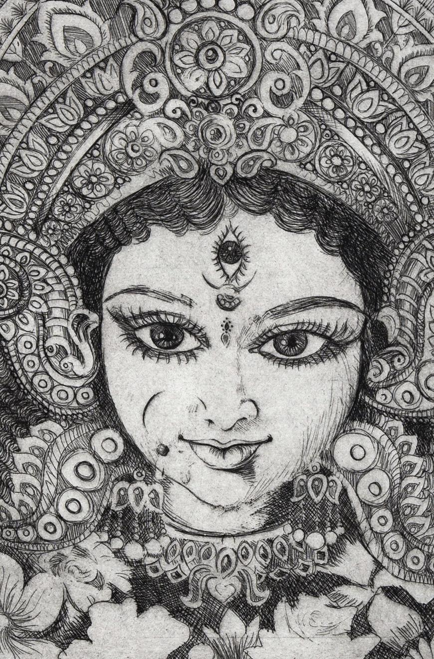 Black and white sketched print of a woman with an ornate headdress and flowers underneath with large eyes and a third eye in the middle of her forehead.