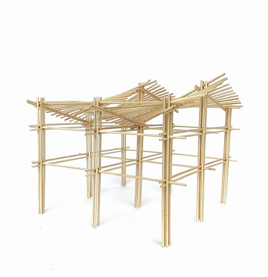 Bamboo structure held by 9 columns.