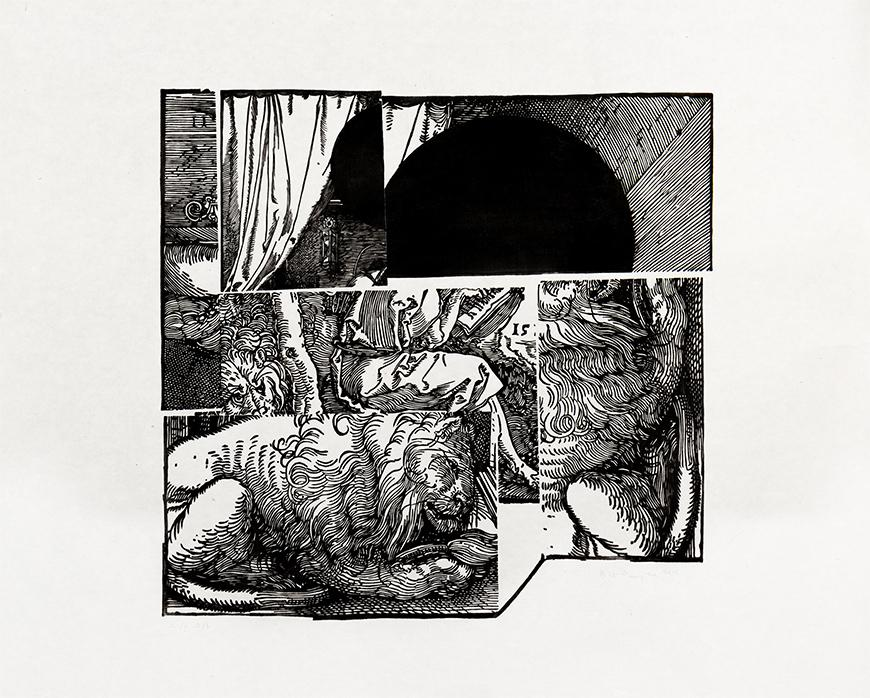 Black and white print of different parts of a scene with a lion underneath the body of a person sitting on it.