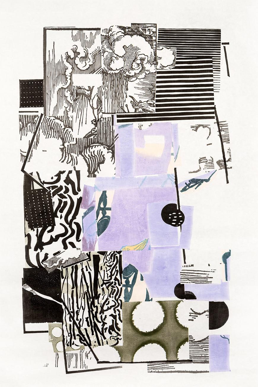 Print with black, white, olive green, and violet ink of a collage of different scenes, some a sky, some are striped and polka dotted.