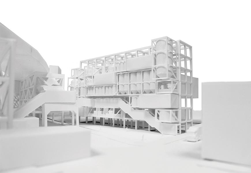 Architectural model of project in the site painted in white.