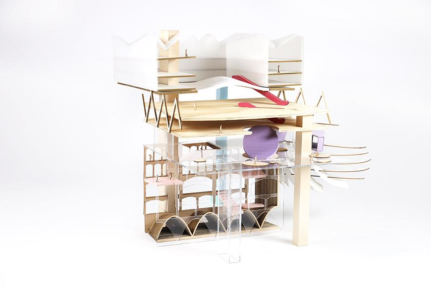 Model with different materials, colors and building forms.
