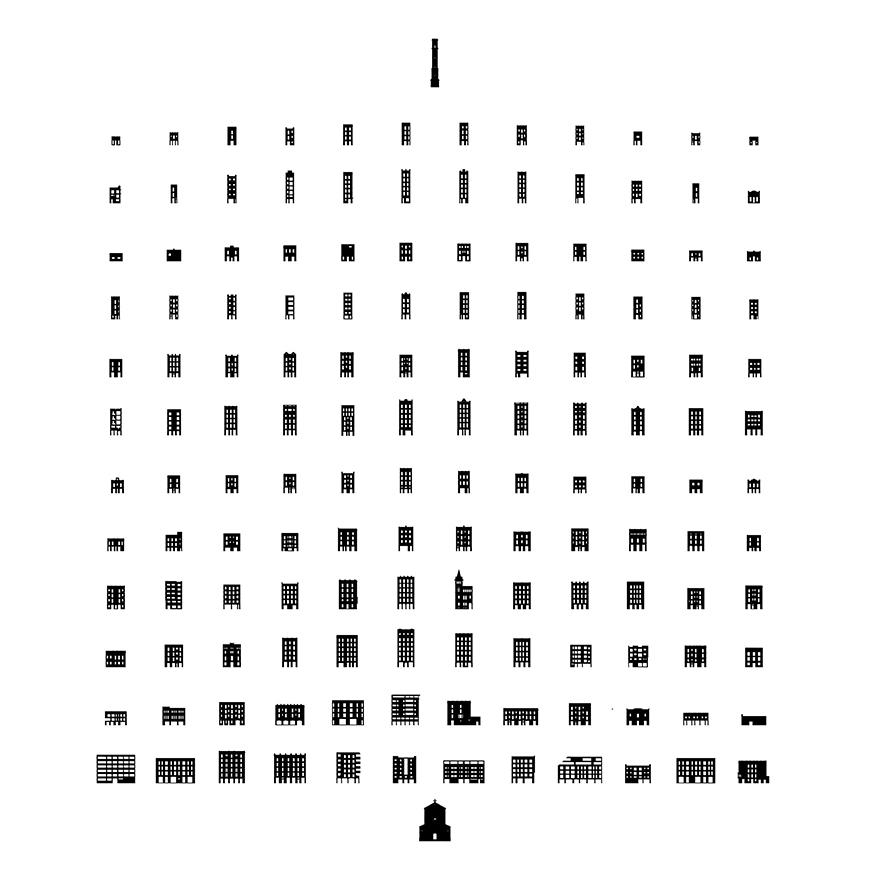 Grid of buildings in various sizes drawn in black and white