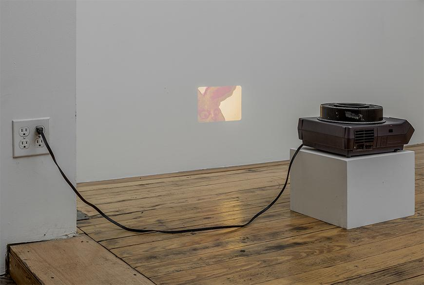 Small projector on a white pedestal showing a small slideshow on a white wall.