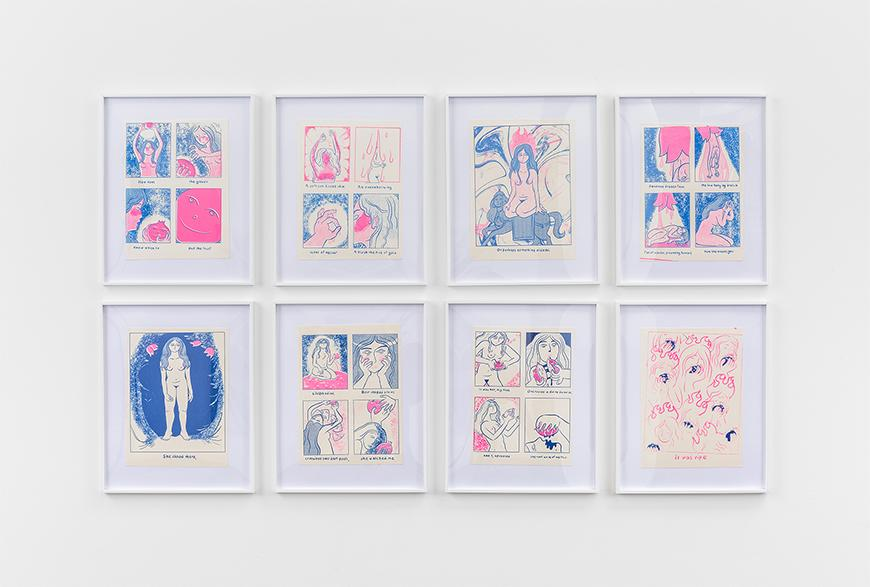 Eight white framed silkscreen prints in pink and blue depicting different scenes with a woman's body.