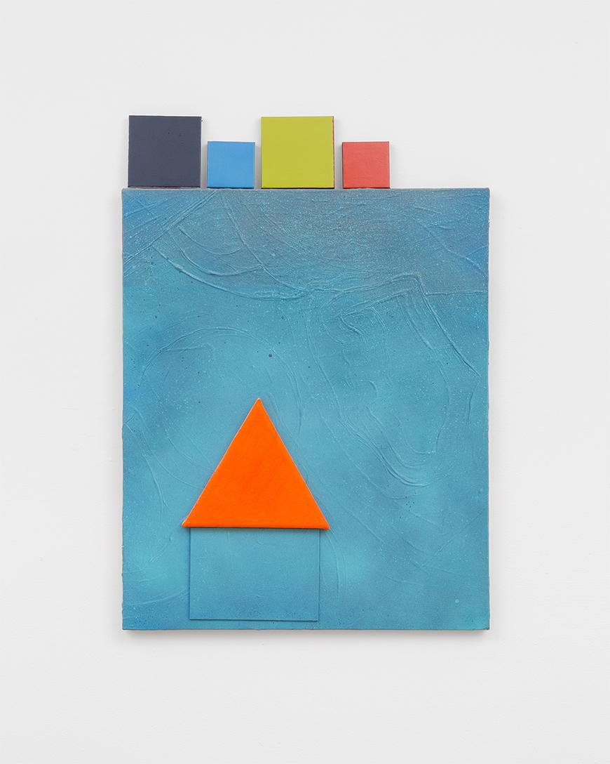 Blue square painting with an orange triangle inside above a smaller blue rectangle with large and small squares on top in dark blue, blue, green, and red.