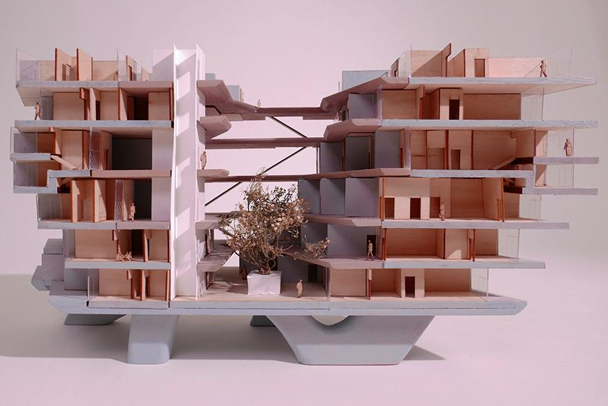 An architectural model of a building.