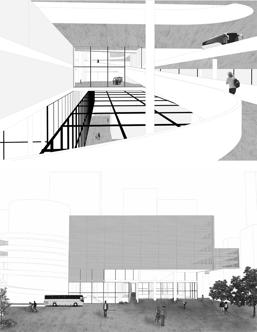Digital rendering of an architectural structures interior and exterior.