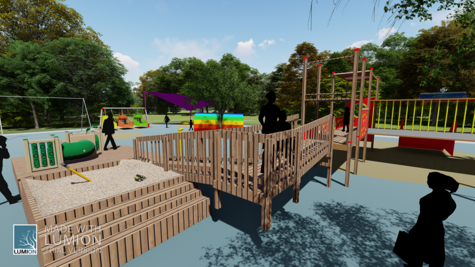 digital rendering of playground with silhouettes of people and wooden structure