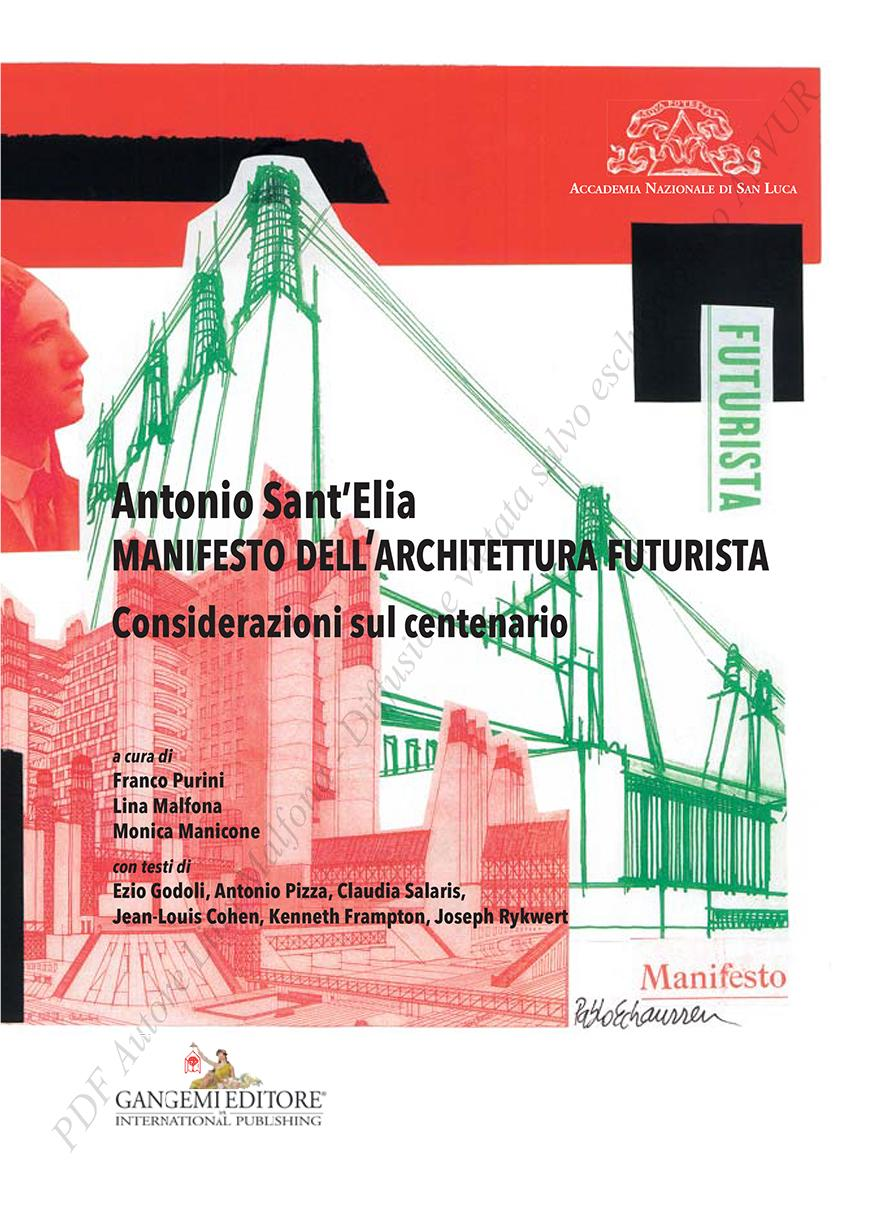 book cover with white red green and black drawing collage and Manifesto Dell'Architettura Futuista