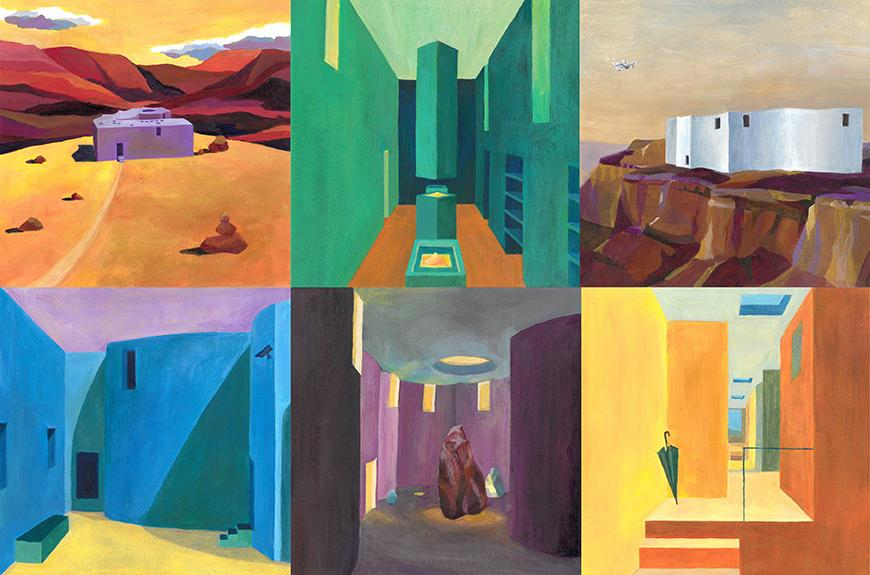 Paintings showing the buildings in a canyon rendered with a variety of vibrant color.