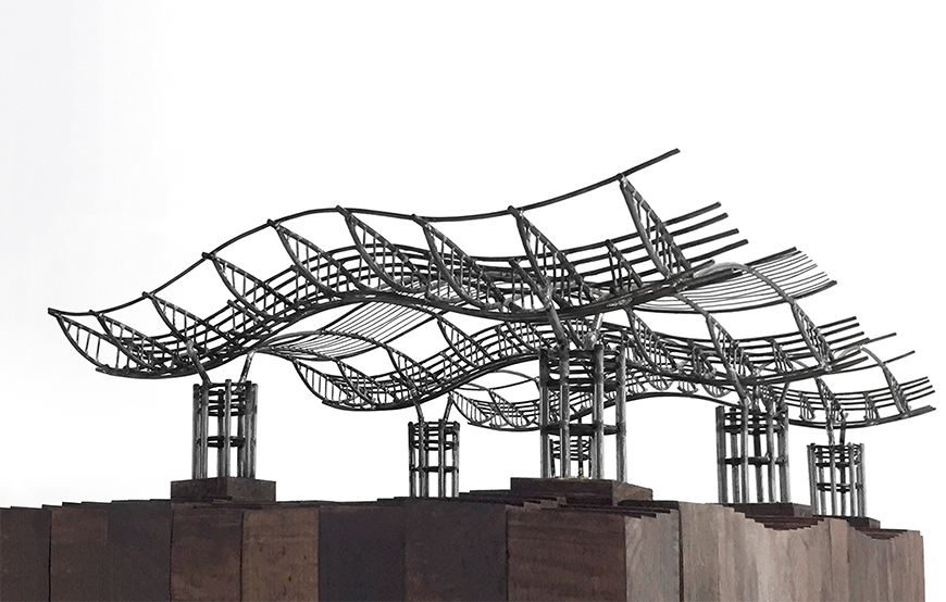 A structural model consisting of a series of curved, interconnected steel structures which are elevated from the ground.