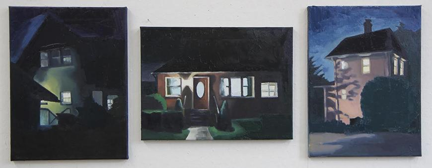 Three paintings of different types of houses at night in shadow.