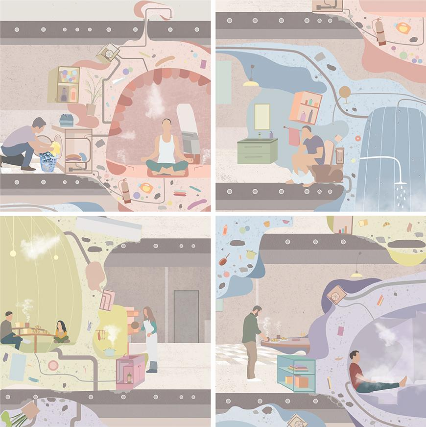 Four different scenes of people inside colorful blobs cooking, eating, showering, and going to the bathroom.