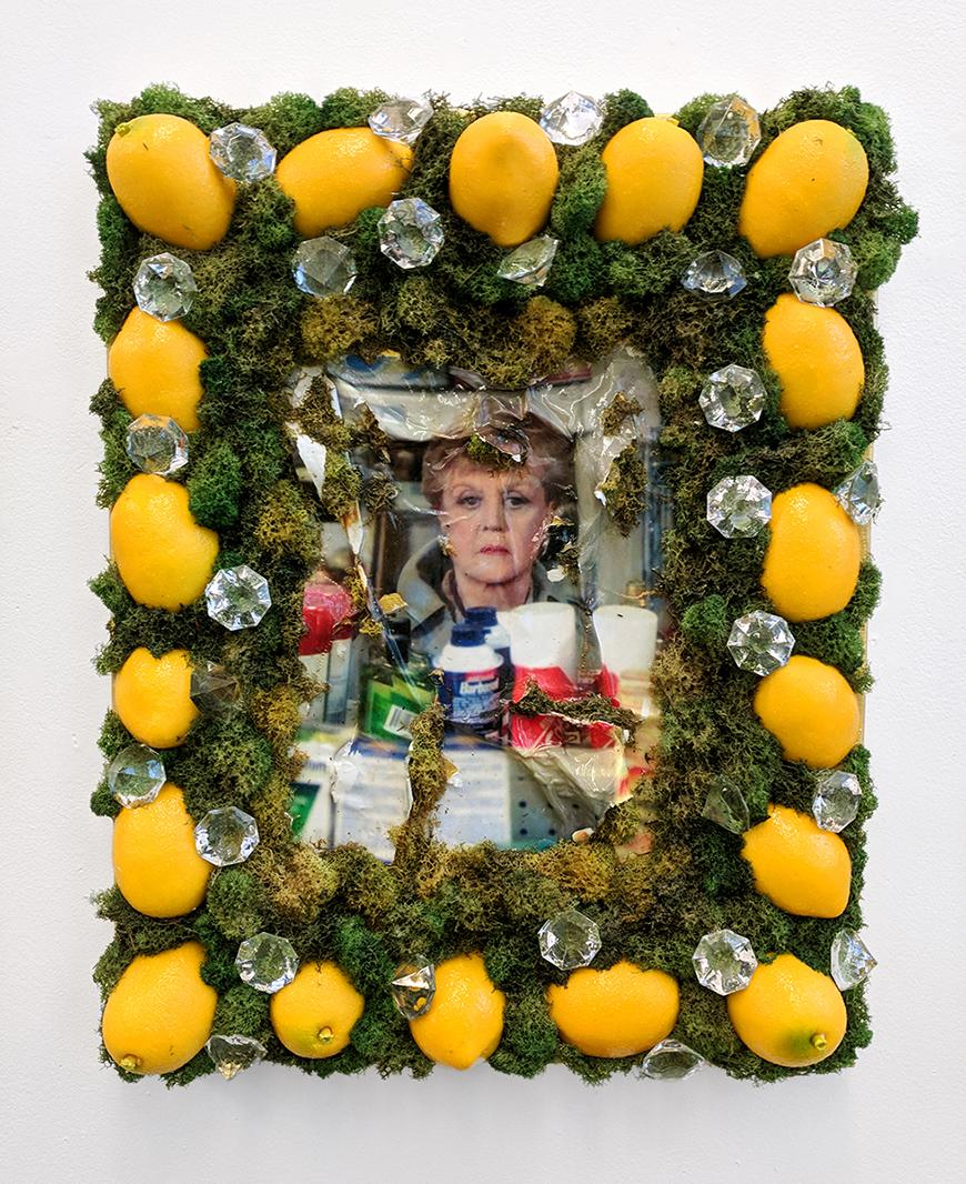 Frame made out of moss, lemons, and fake diamonds surrounding a collage featuring a woman and household items.