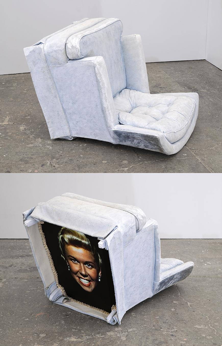two images of a white colored armchair tipped onto its back revealing a smiling picture of Doris Day.