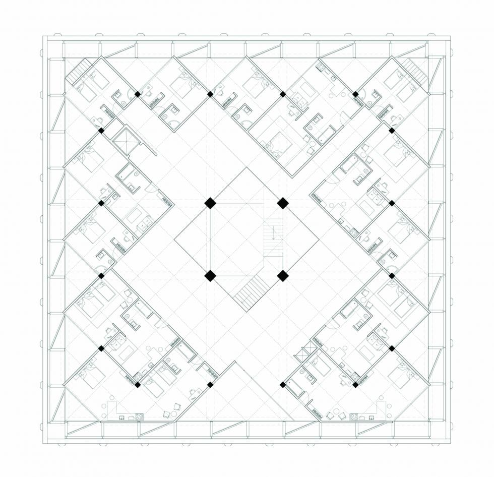 Square plan with grid dividing the space into housing units leaving the circulation in the middle.