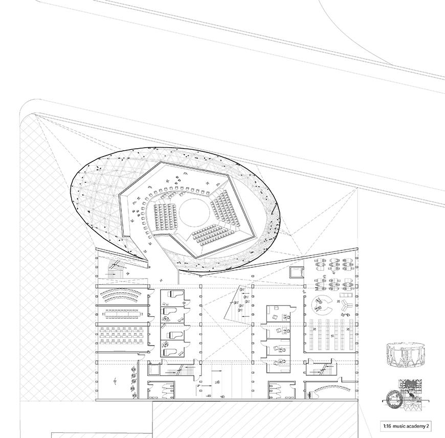 Plan drawing of an auditorium in an egg shape attached to the rest of the building with several rooms.