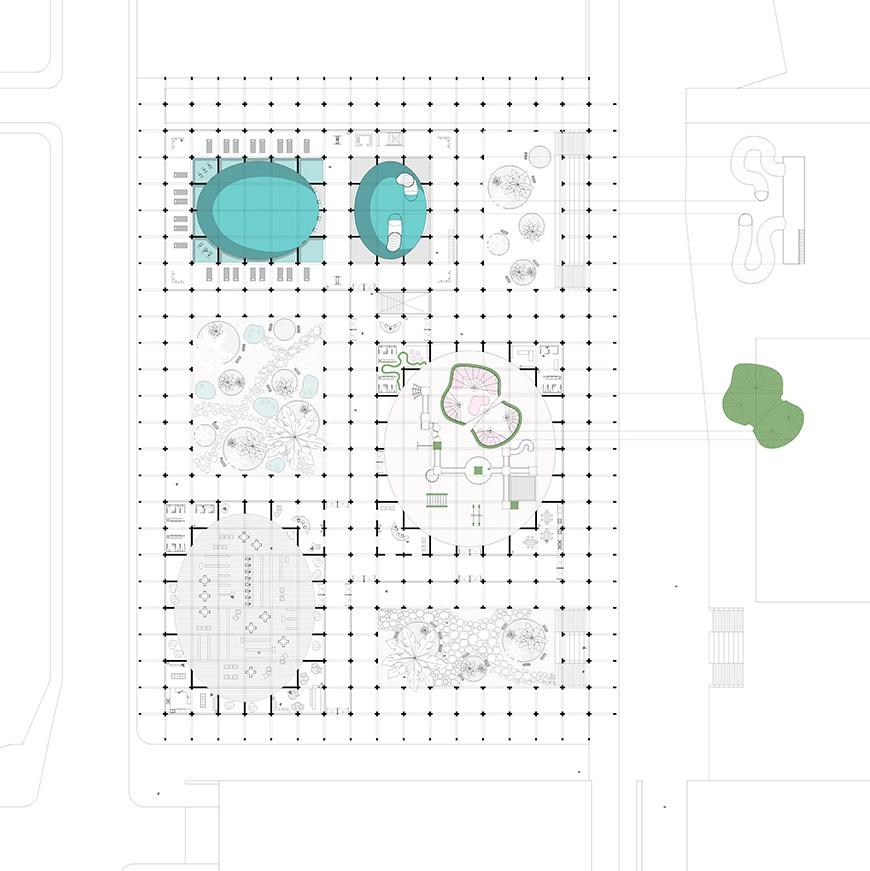 Digital rendering and arial view of a map which consists a series of buildings, pools, and seating areas.