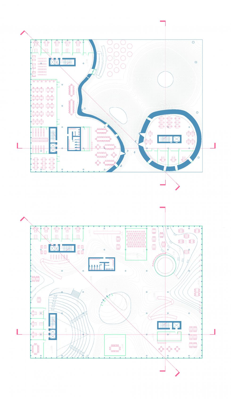 Square shape plans with wavy cuts with red furniture.