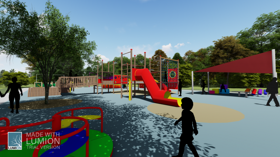 digital rendering of playground with silhouettes of people and colorful playground equipment