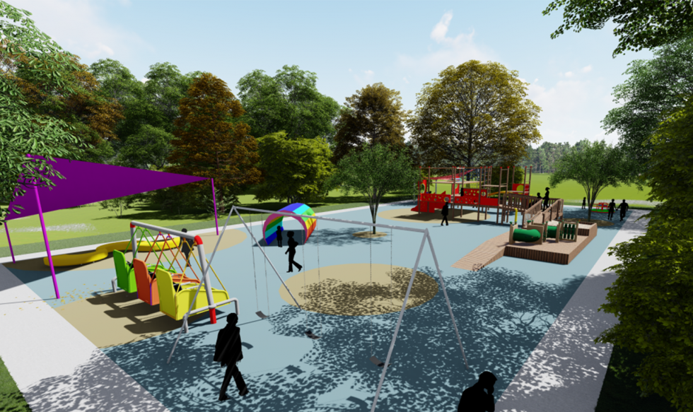 digital rendering of playground view with trees in background