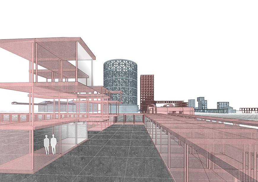 Digital rendering of an architectural structure.