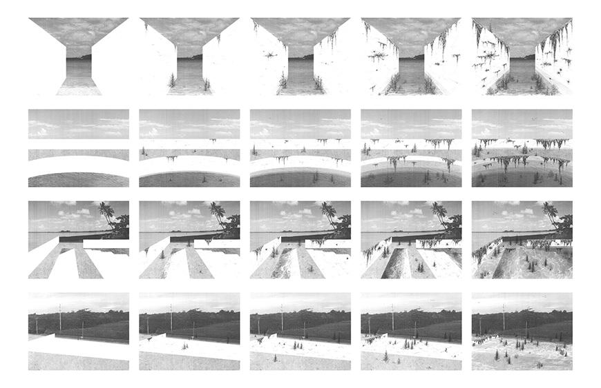 Digital storyboard depicting an architectural structure.
