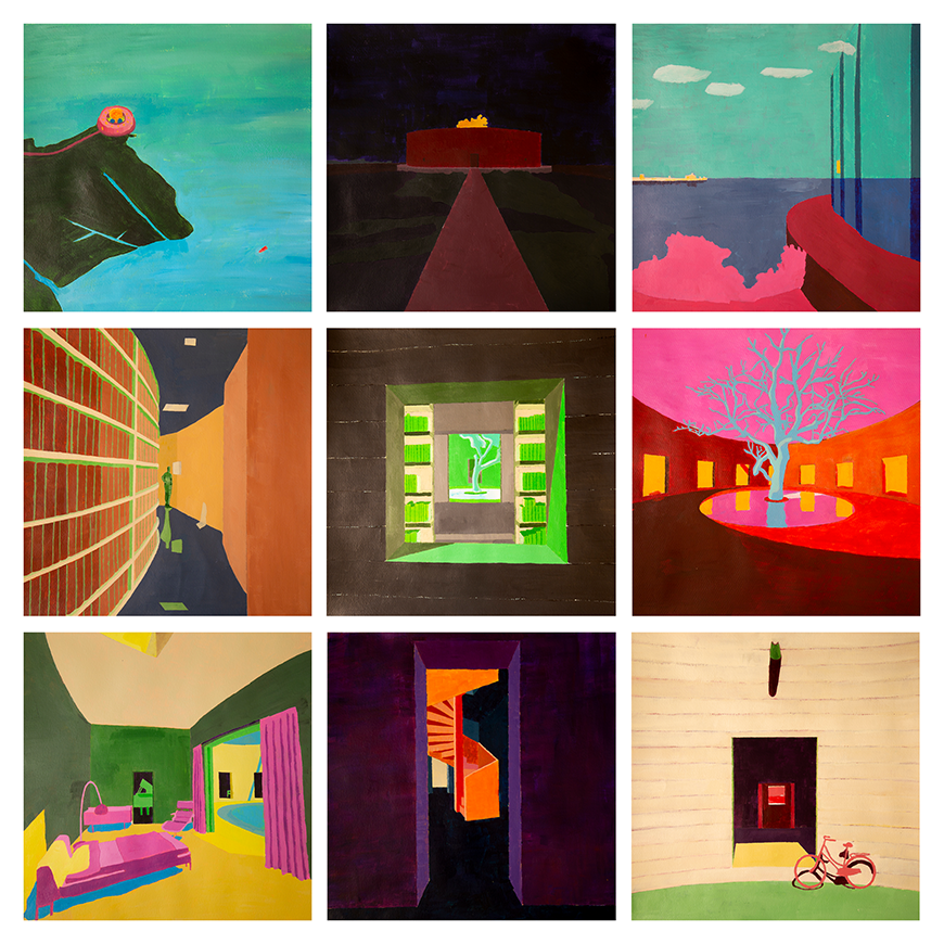 A series of nine colorful and abstracted paintings of buildings.