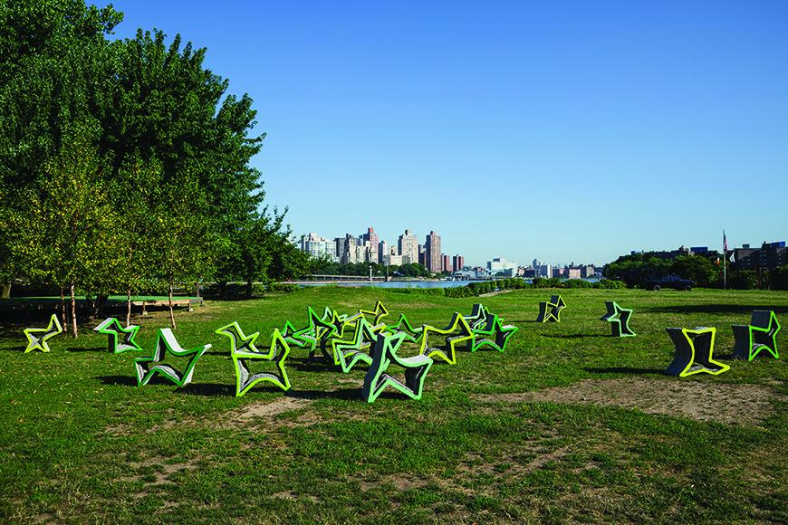 Outdoor installation of geometric shaped sculptures.