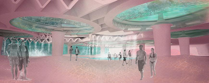 Interior render of a casino