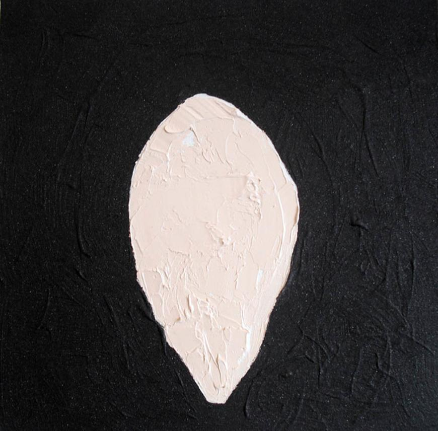 Dark painted background with a light painted oval in the middle.