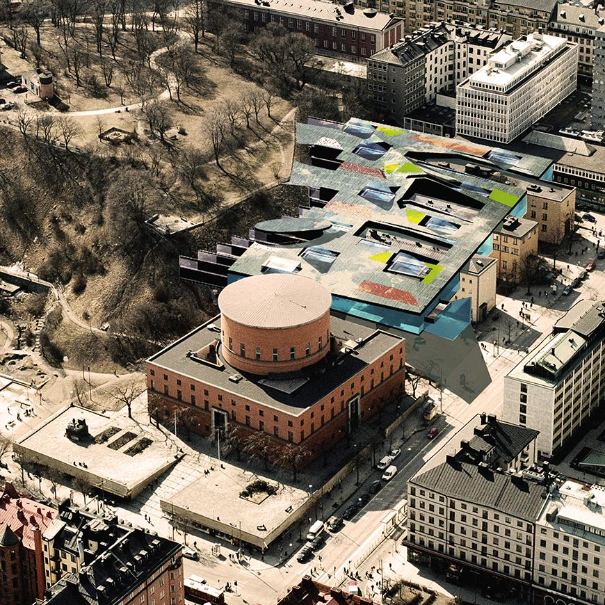 a rendering of a building in Stockholm with a wavy multi-colored roof