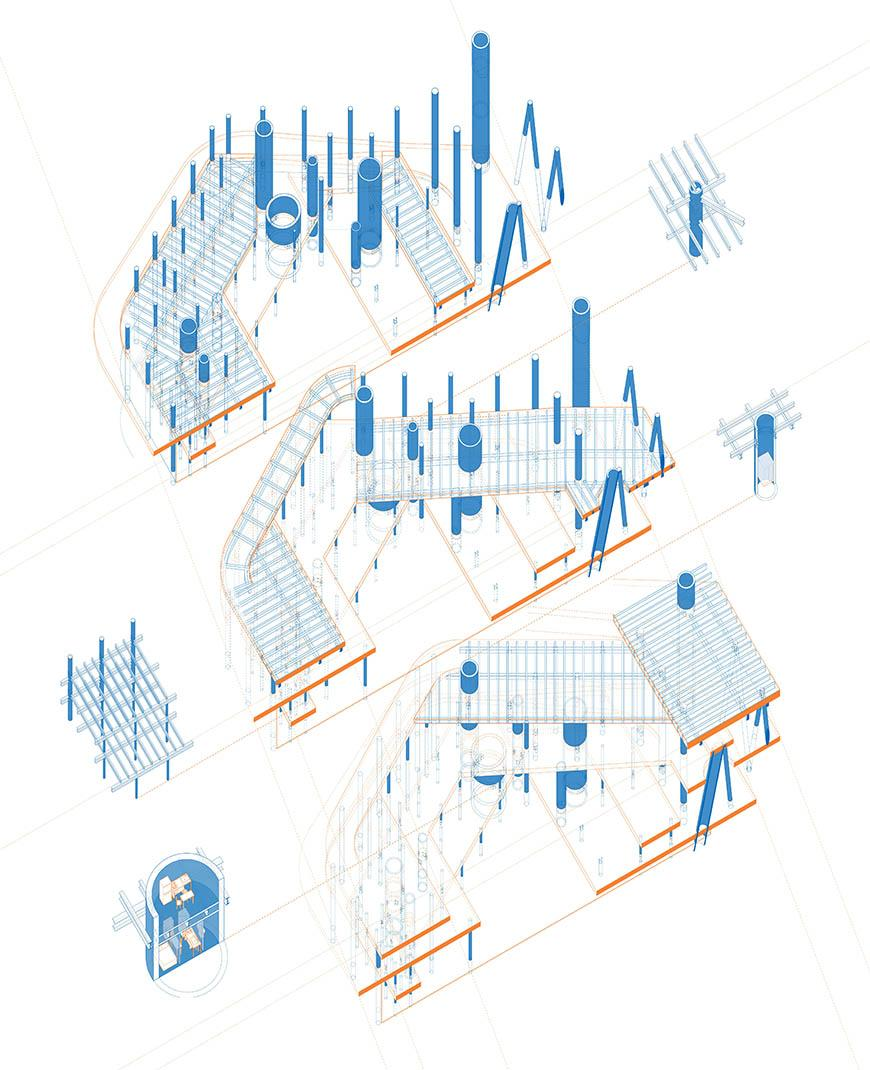 Digital rendering of a buildings structural system