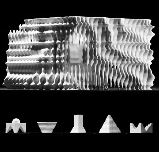 two images of white, wavy sided architectural models in geometric shapes