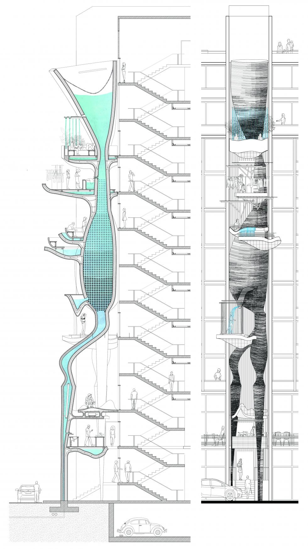 Section and elevation showing how water moves through all the levels of the building.