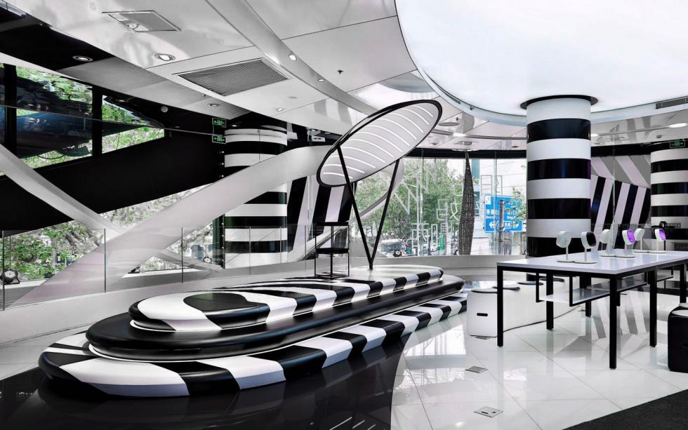 striped retail interior