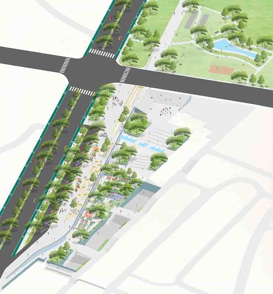 Digital arial rendering of an urban location.