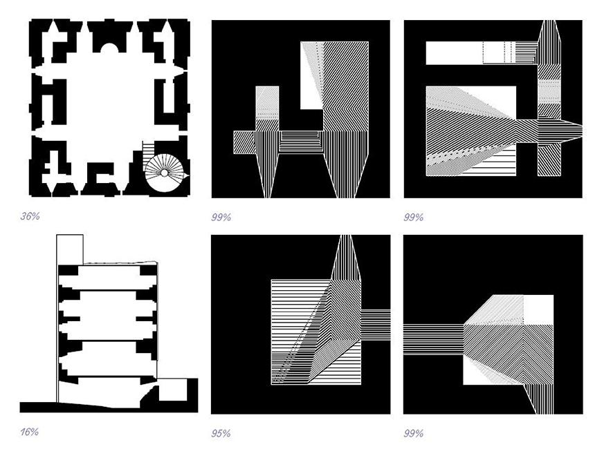 A plan of a castle and a section of a building abstracted into black and while geometric shapes.