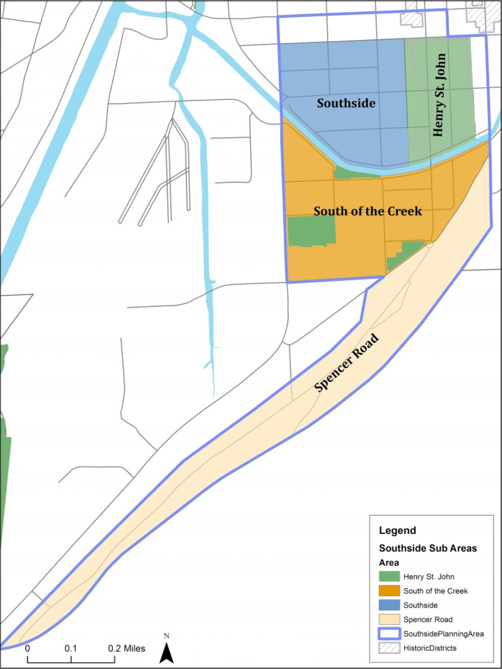map of Ithaca's southside neighborhood with certain areas noted in different colors