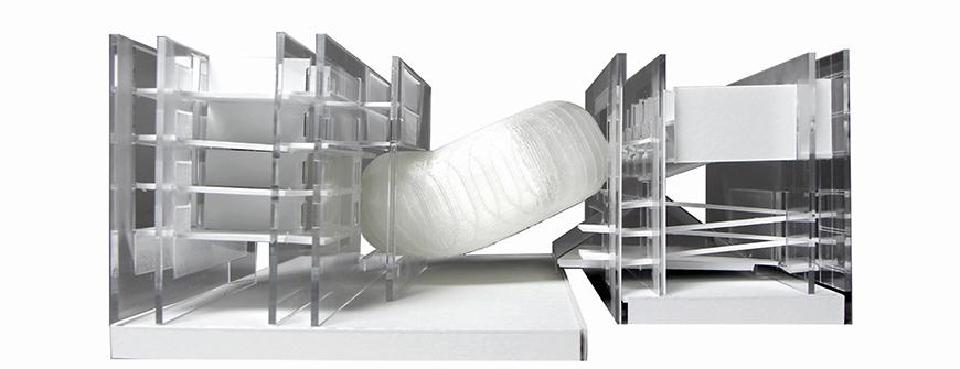 Final model of project made with acrylic walls and 3d printed capsule in the middle.