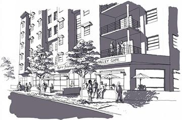 Rendering of a city apartment building
