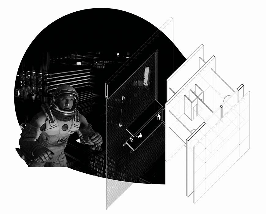 Axonometric drawing of housing unit and movie booth with projection of an astronaut movie.