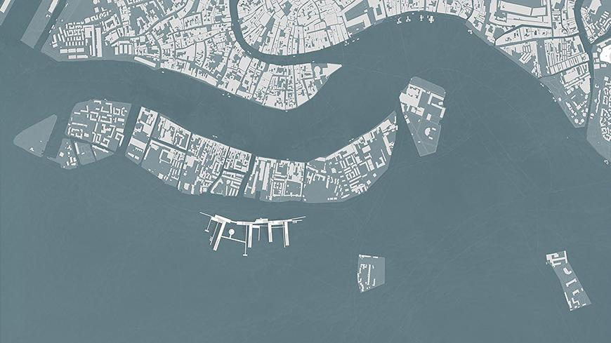 Digital rendering and overhead view of Venice, Italy.