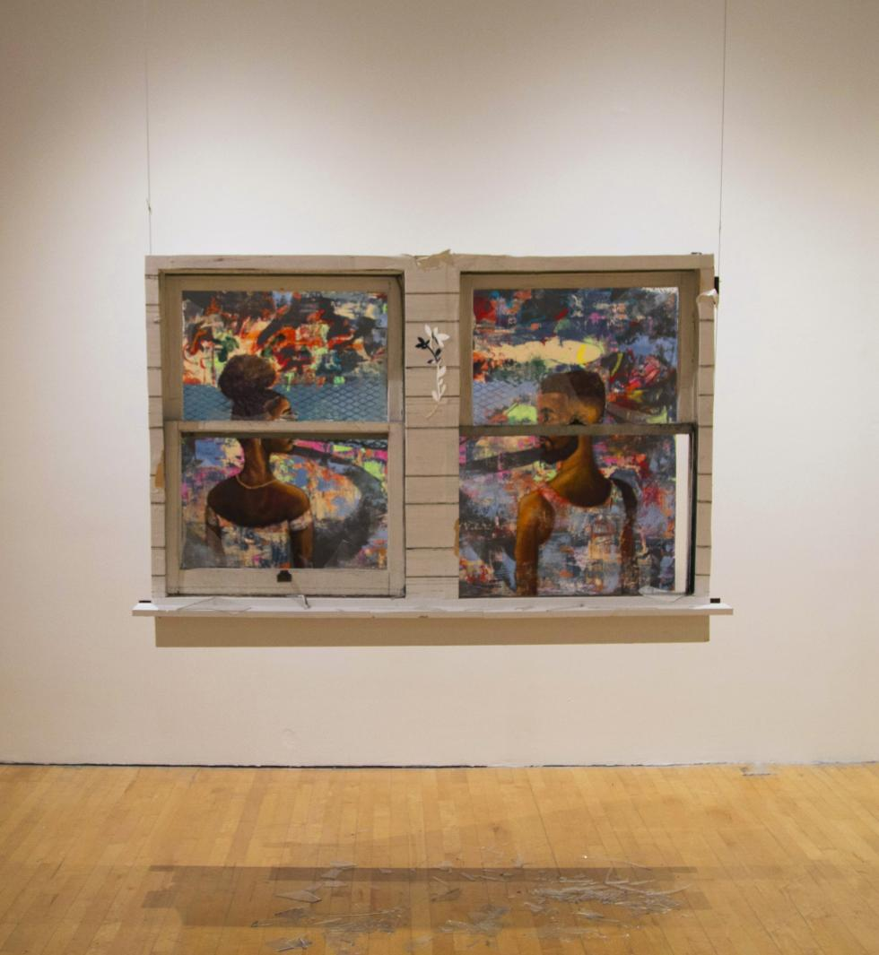 Window frame hanging in front of two paintings so each painting is in a frame, woman on left, man on right, with broken glass below window frame.